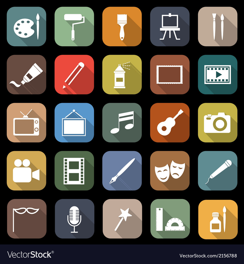 Art flat icons with long shadow vector