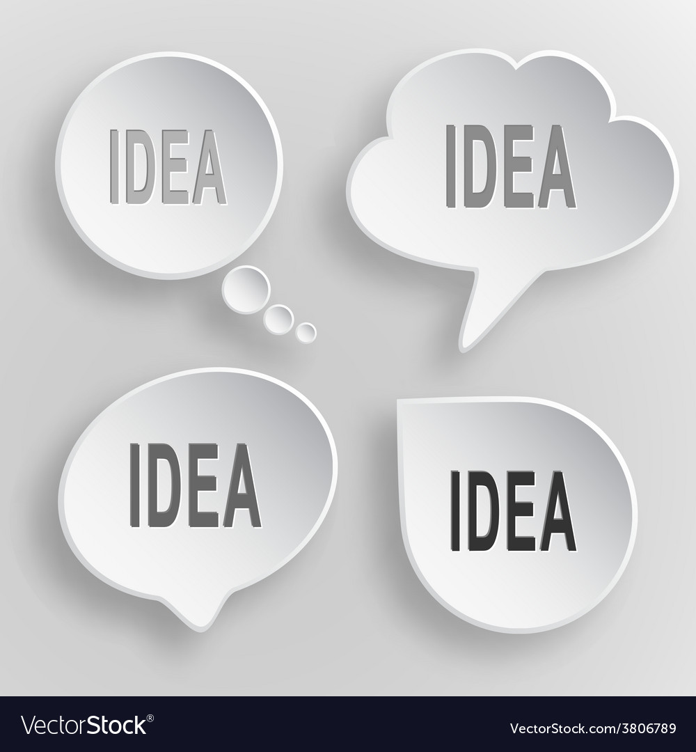 Idea white flat buttons on gray background vector