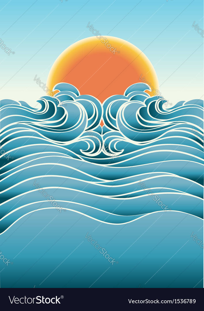 Seascape abstract background with sunlight color vector