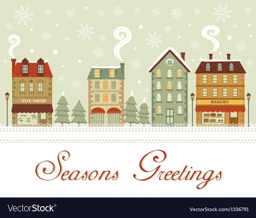 Cute city seasons greetings vector