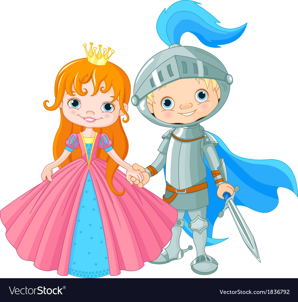 Medieval lady and knight vector