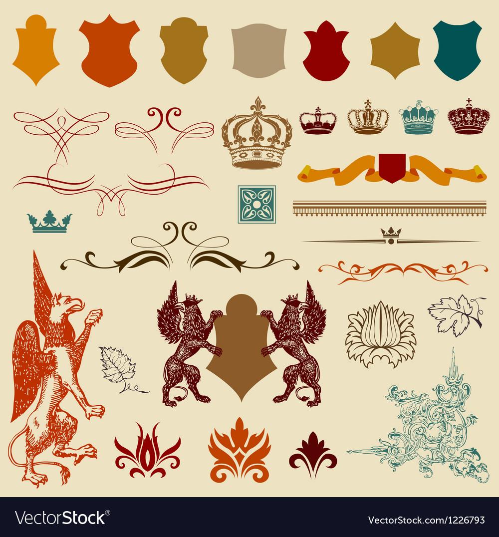 Heraldry design elements vector