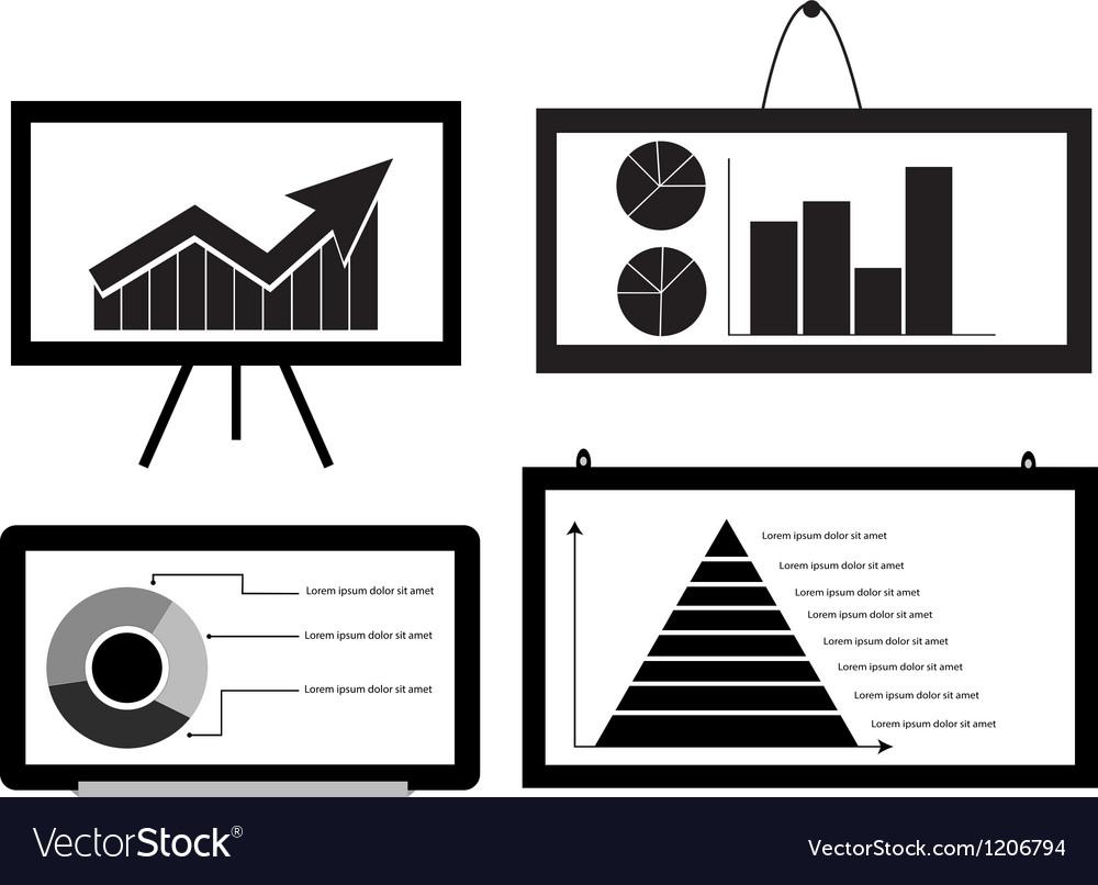 Minimal cart bar chart arrow chart pie chart vector