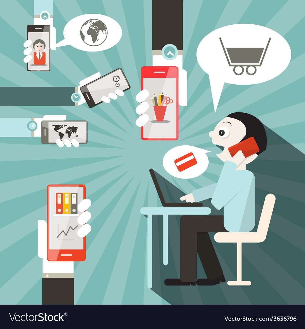 Businessman with cell phones and computer in vector