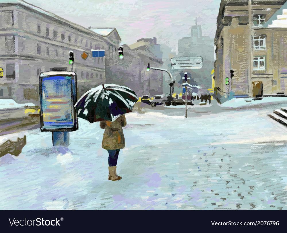 Digital art painting of winter city landscape vector