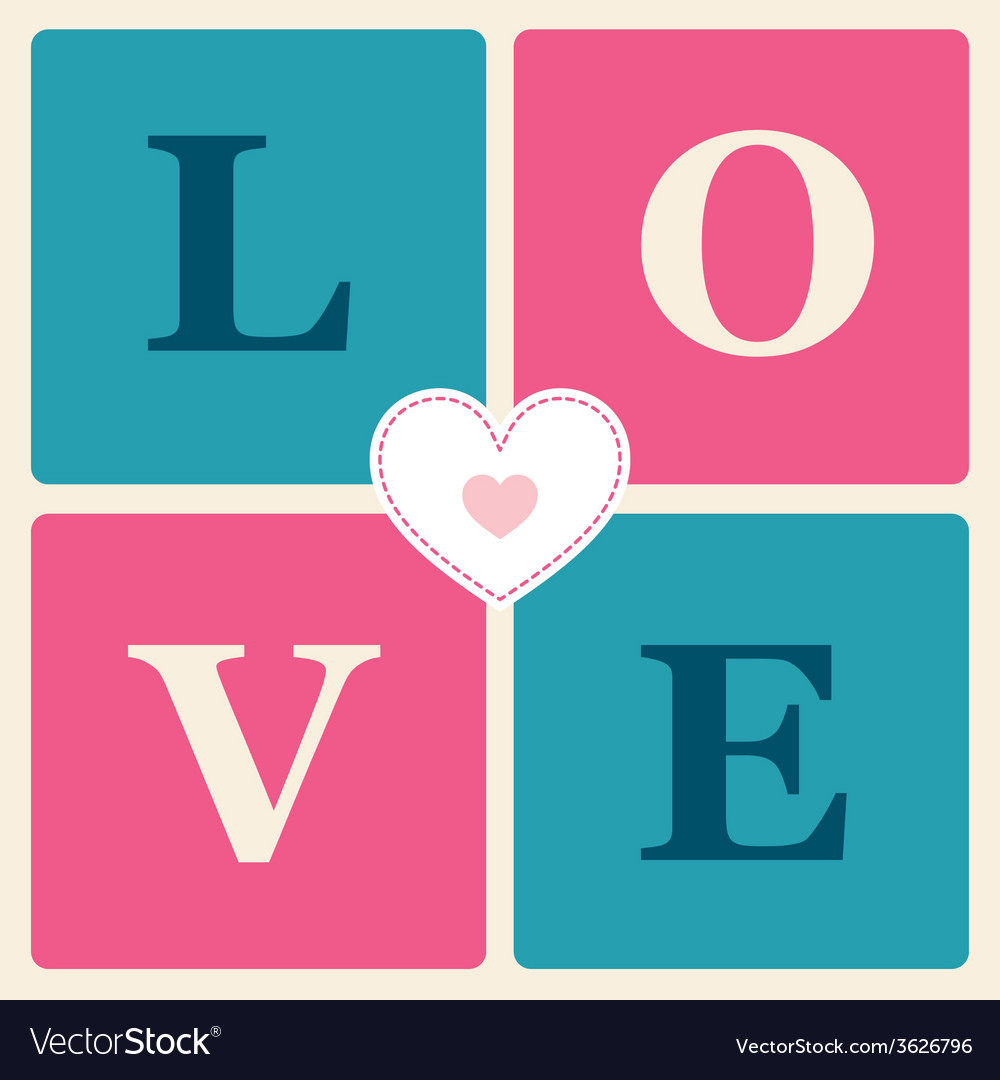 Happy valentines day cards retro style vector