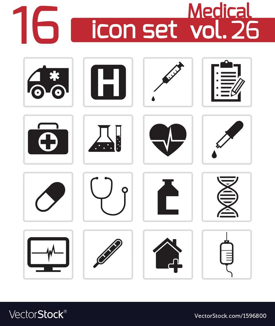 Black medical icon set vector