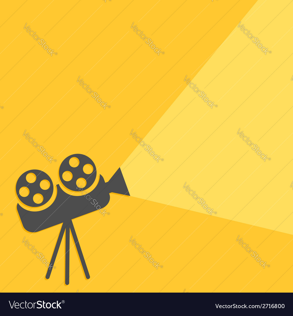 Cinema projector with ray of light flat design vector