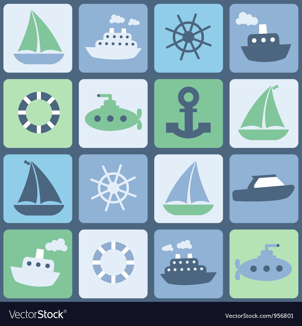 Sea transport seamless in retro colors vector