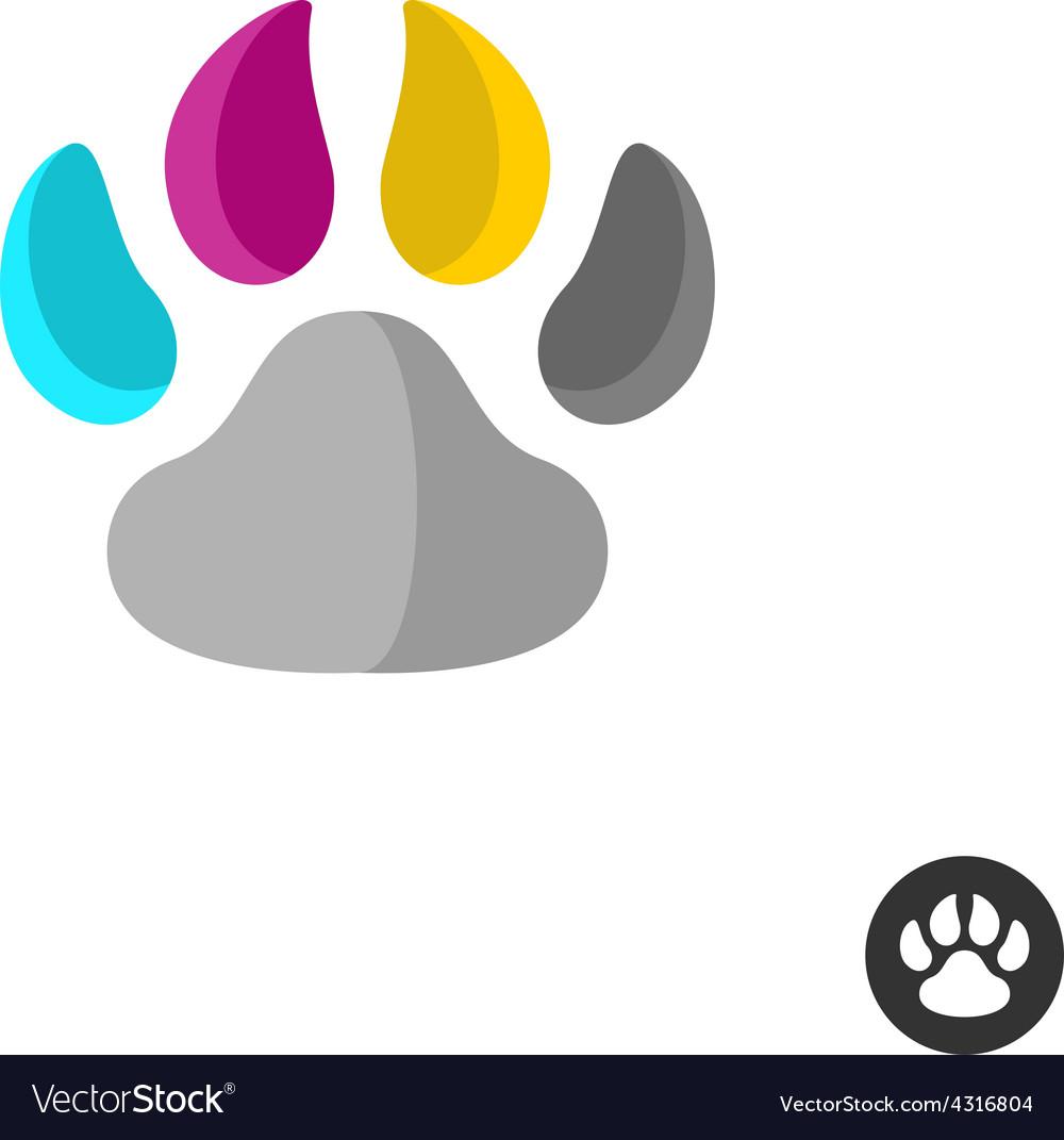 Animal cmyk paw vector