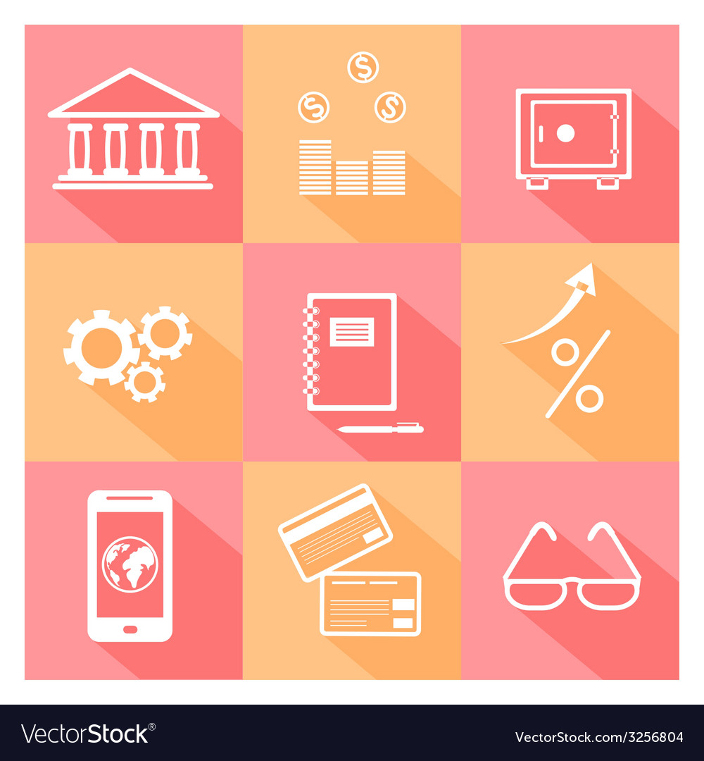 Financial investment bank and business icons vector