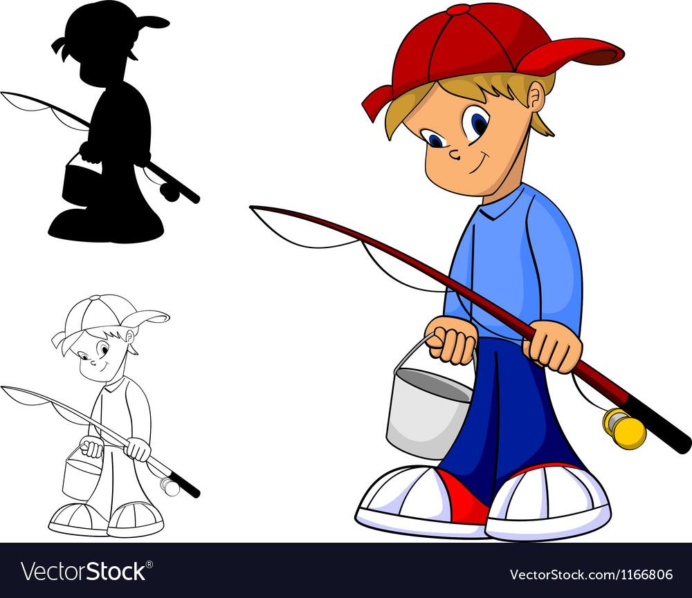 Kid fishing vector