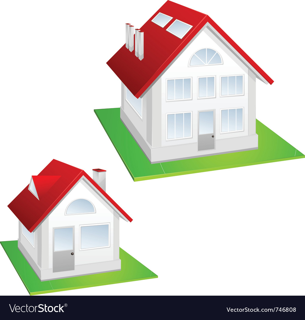 House with red roof vector