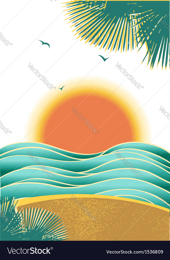 Nature tropical seascape background with sunlight vector