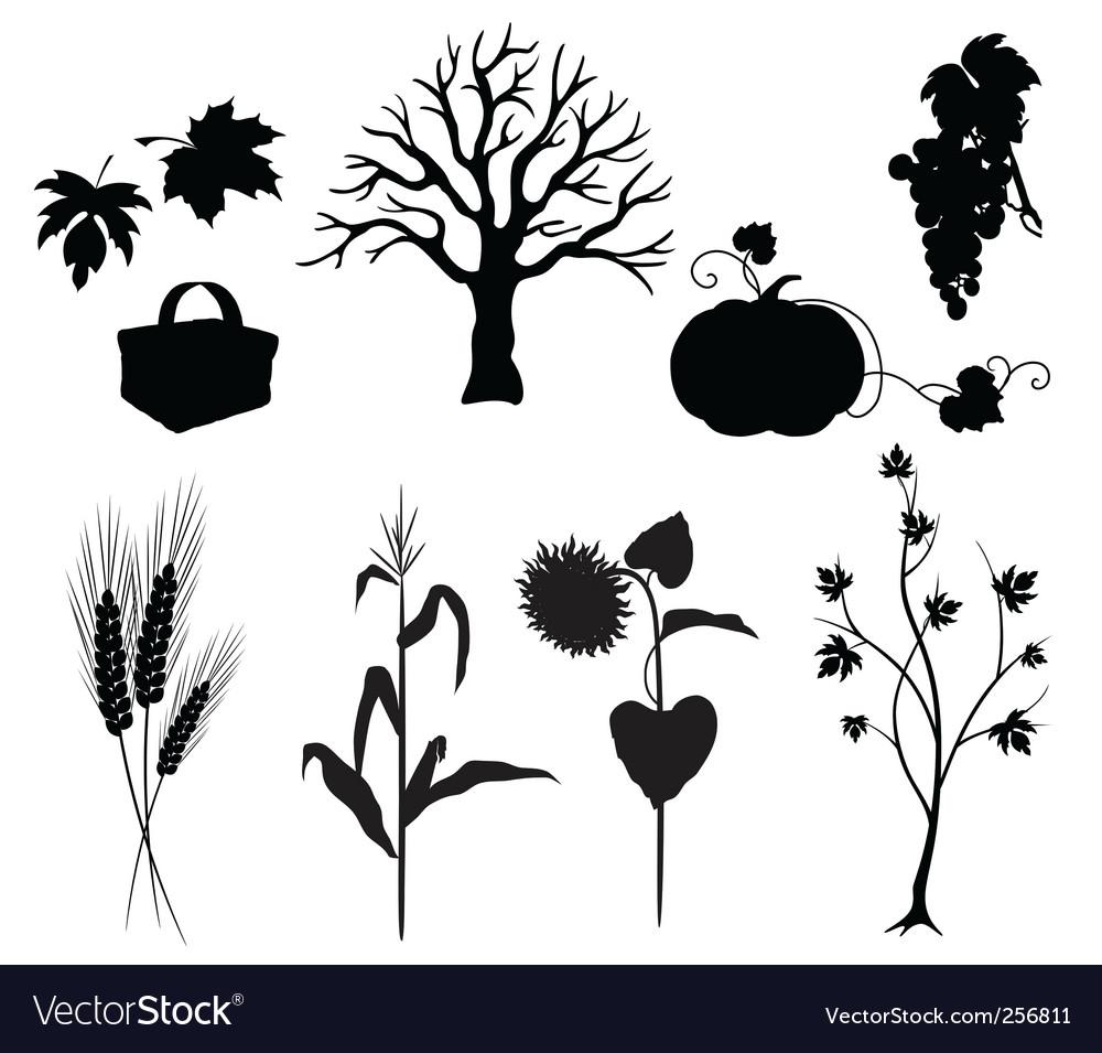 Autumn silhouettes vector