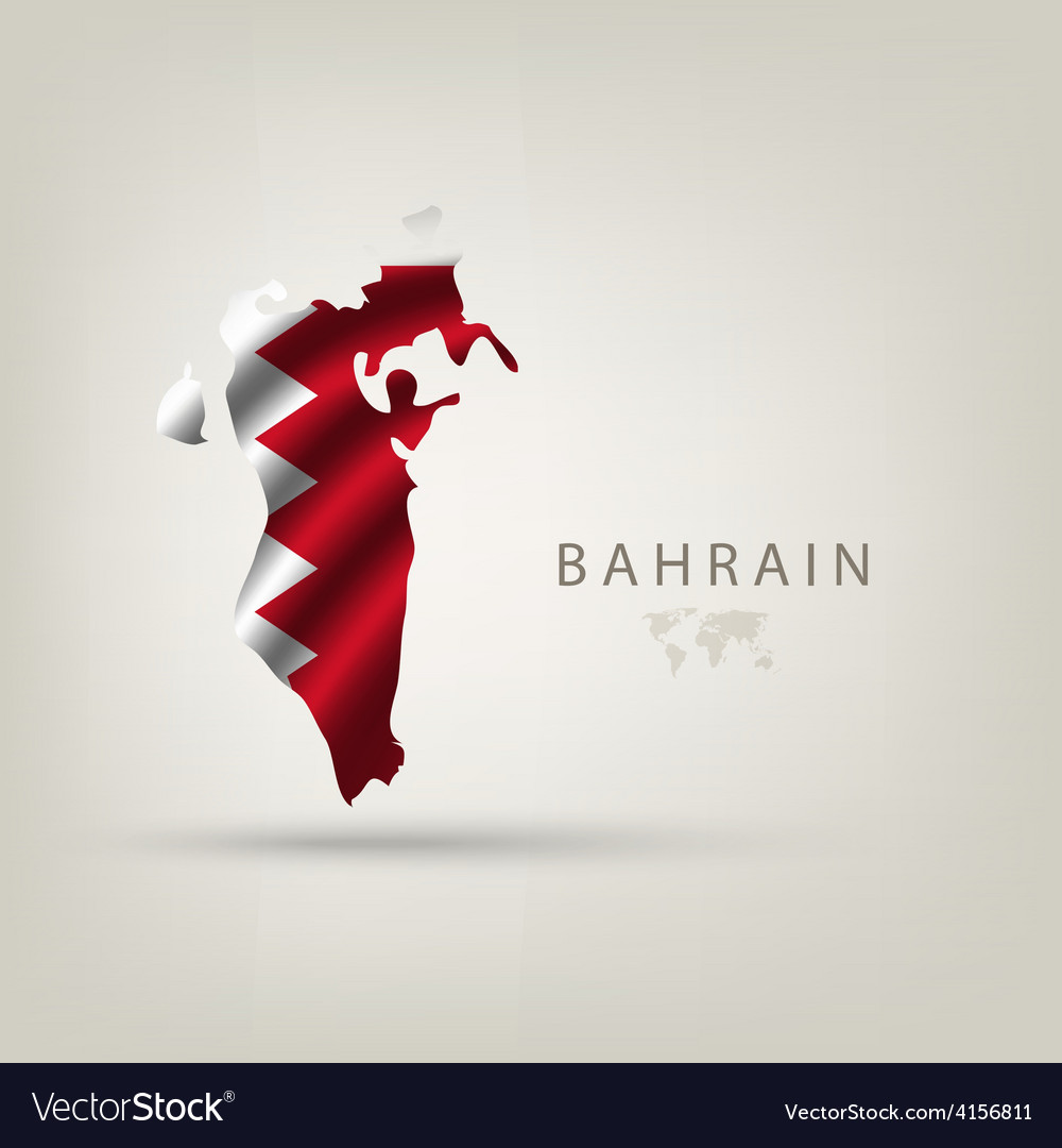 Flag of bahrain as a country with a shadow vector
