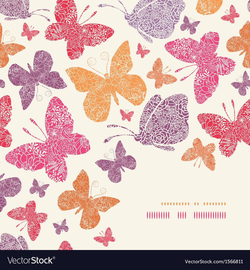 Floral butterflies corner decor pattern background vector