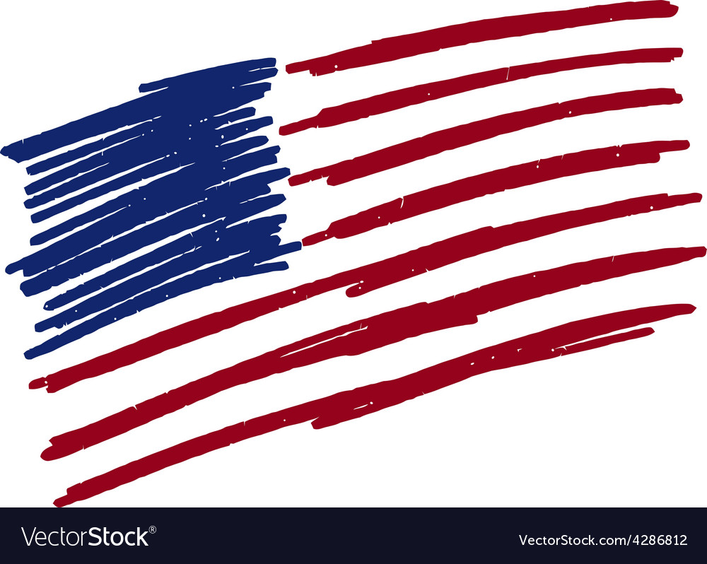 Flag of usa united states of america handmade vector