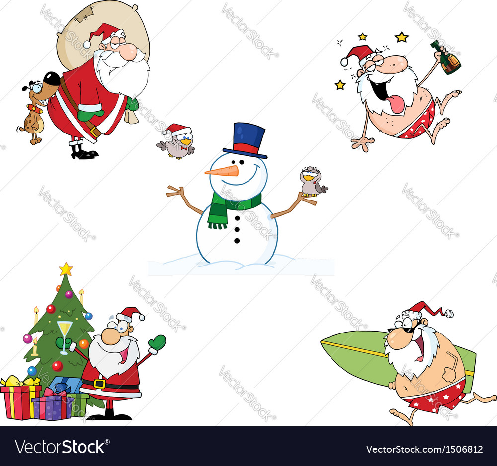 Holidays cartoon characters- collection vector
