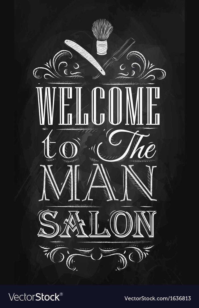Barbershop poster chalk vector