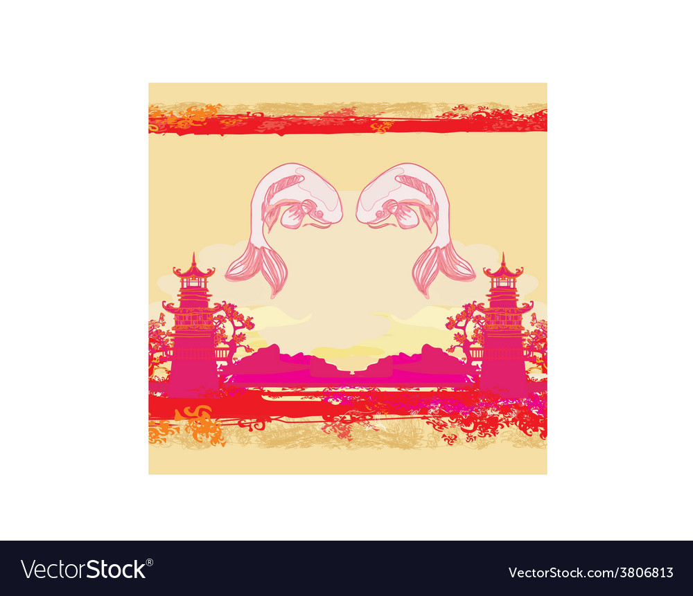 Japanese koi and ancient building background vector