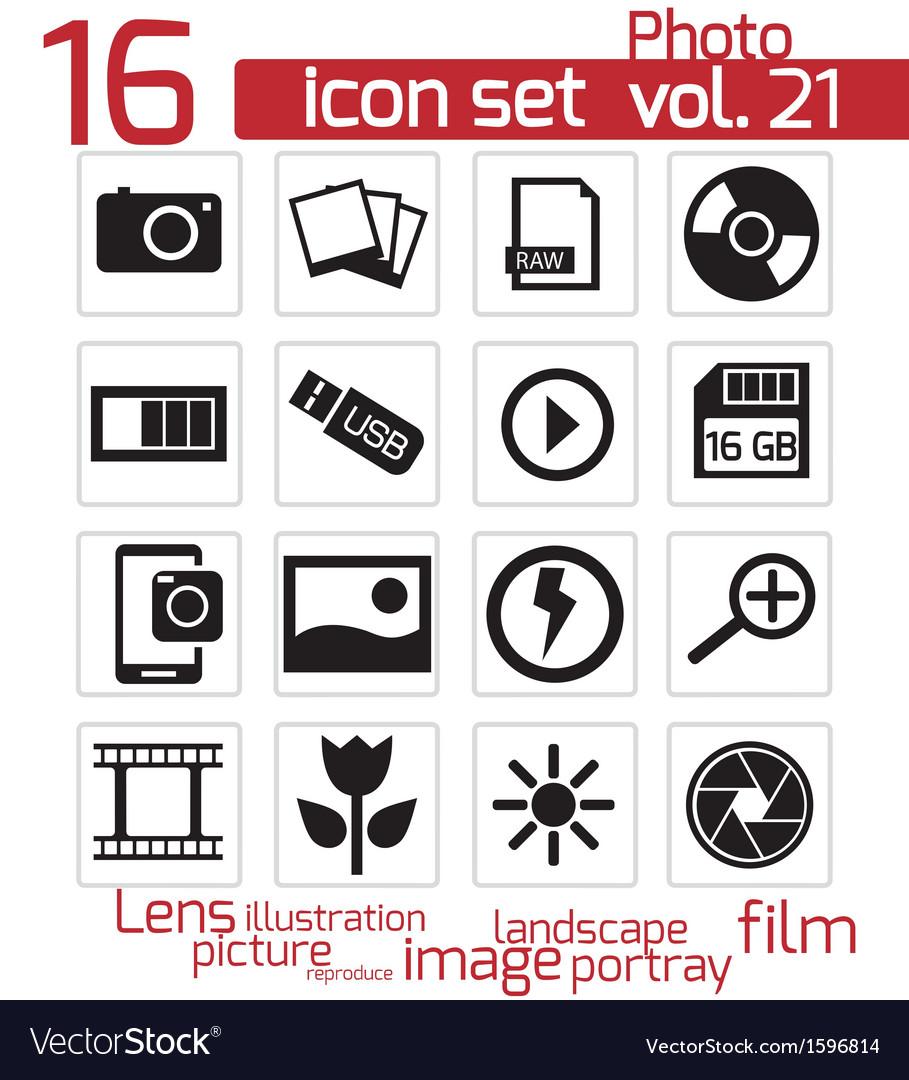 Black photo icon set vector