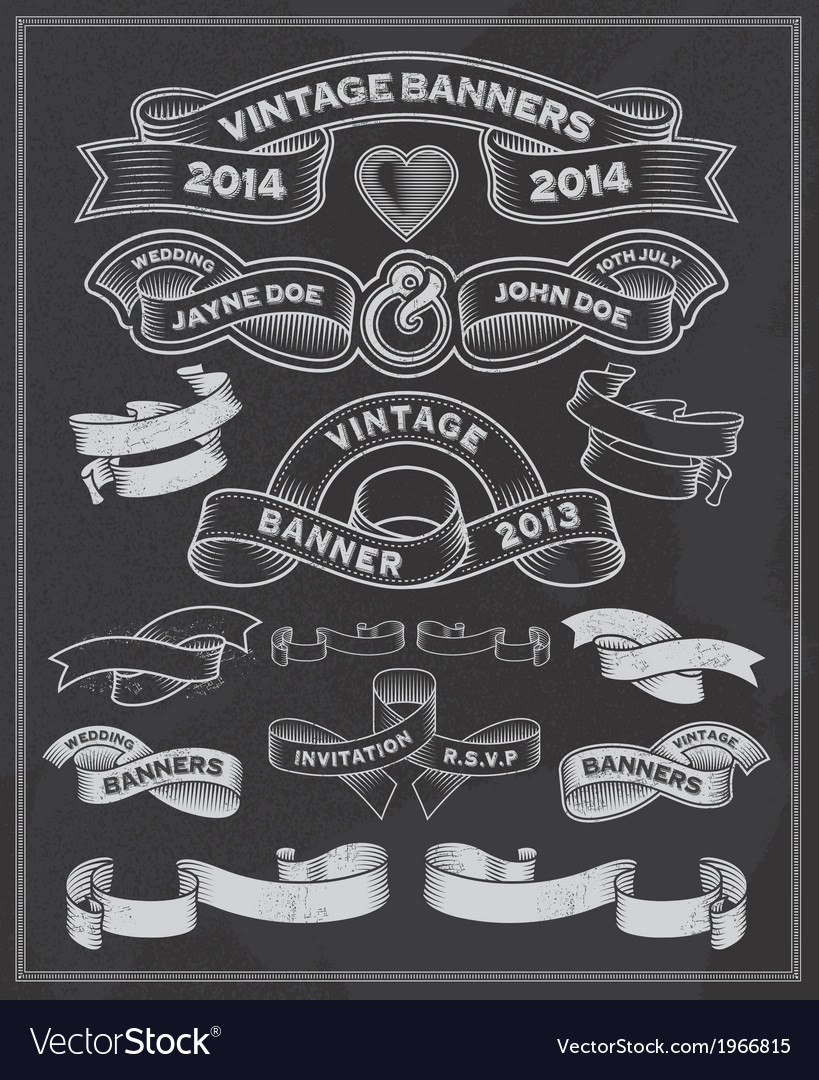 Chalkboard scrolls and banners vector