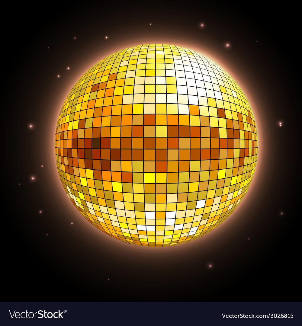 Golden disco ball vector