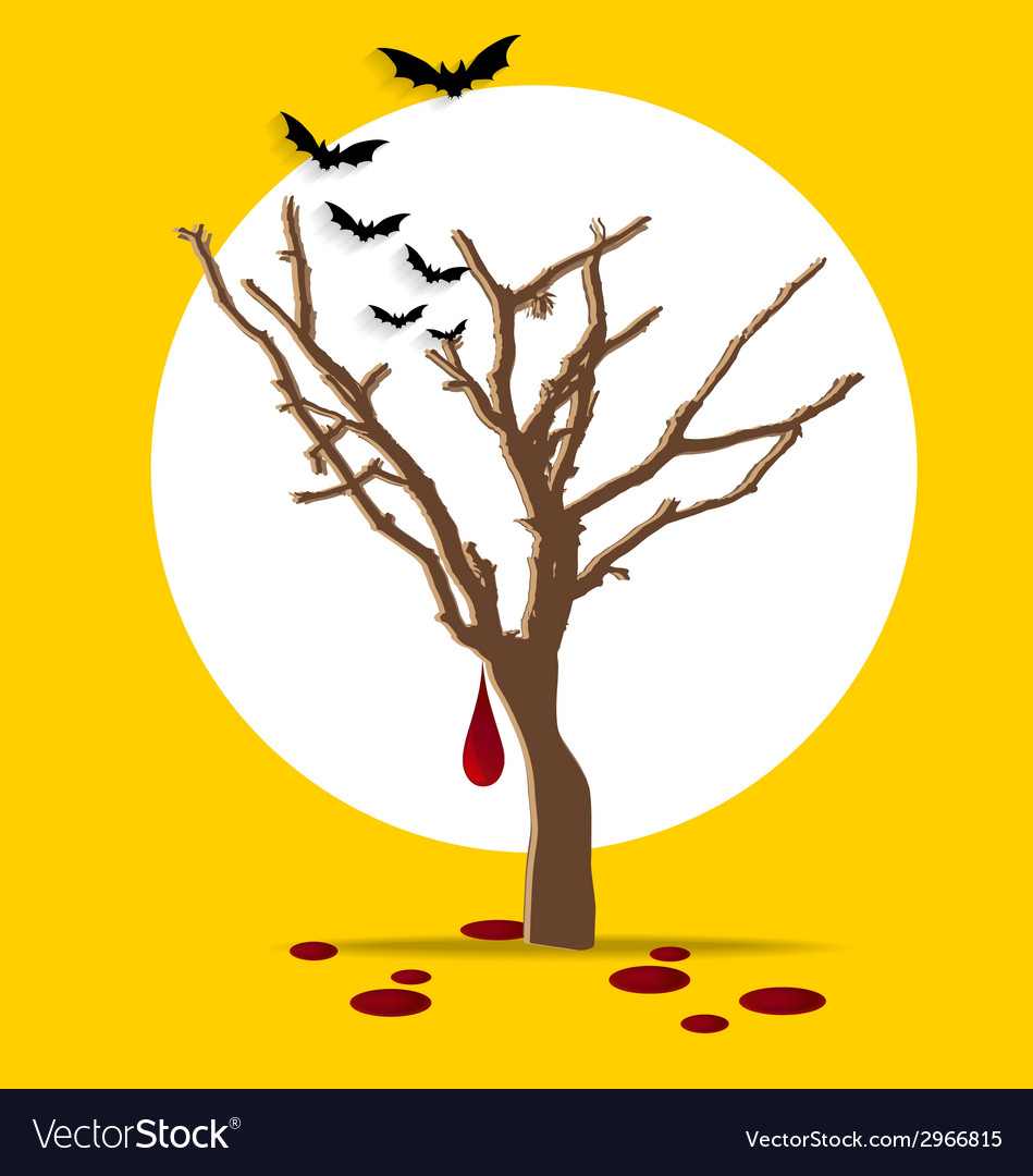 Halloween background tree with blood dripping vector