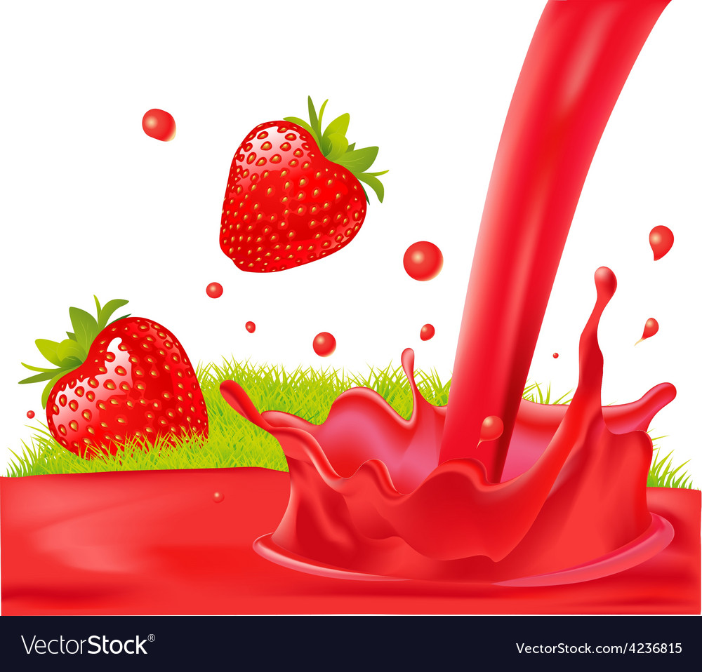 Red splash of strawberry juice - isolated on vector