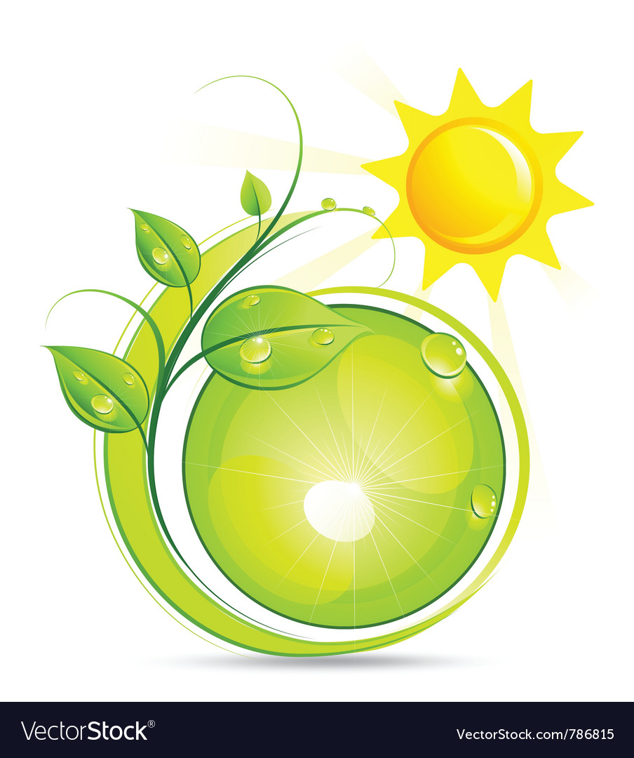 Sun and plant vector