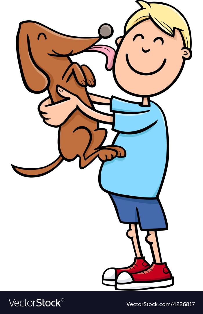Boy with puppy cartoon vector