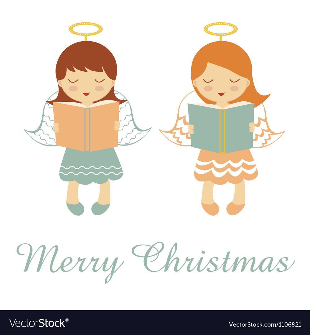 Merry christmas angels vector