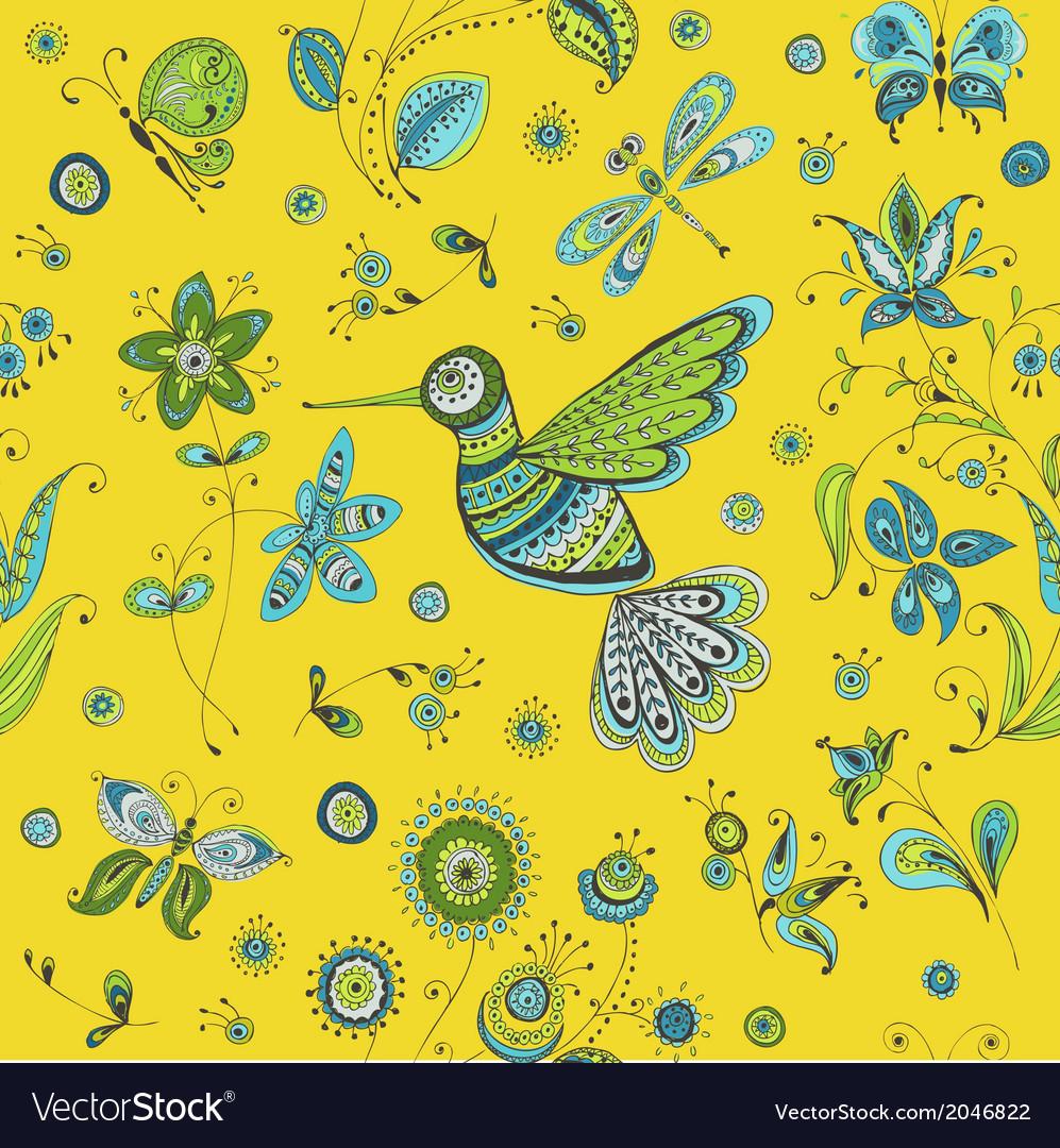 Spring summer doodles - bird butterflies flowers vector