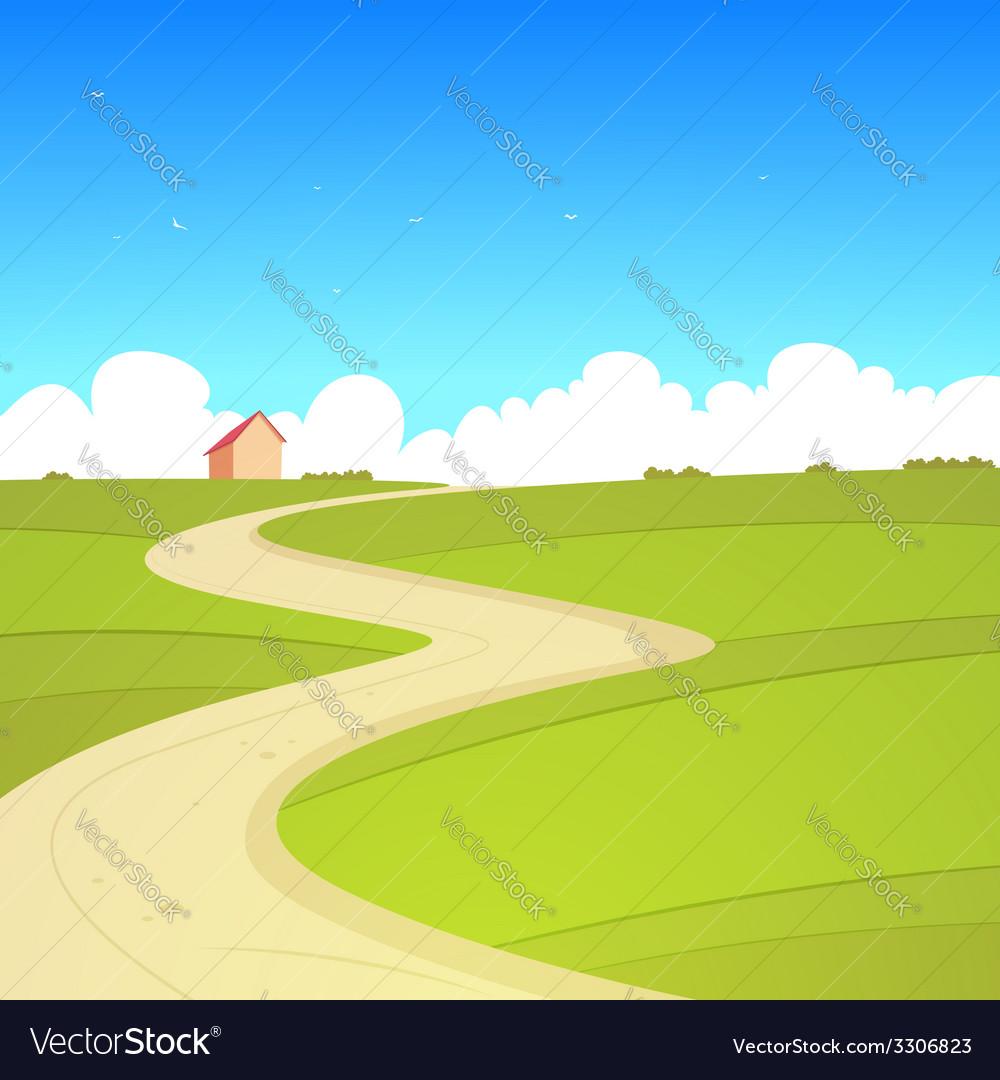 Cartoon summer landscape vector
