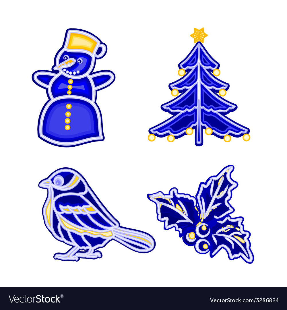 Christmas decoration blue faience vintage snowman vector