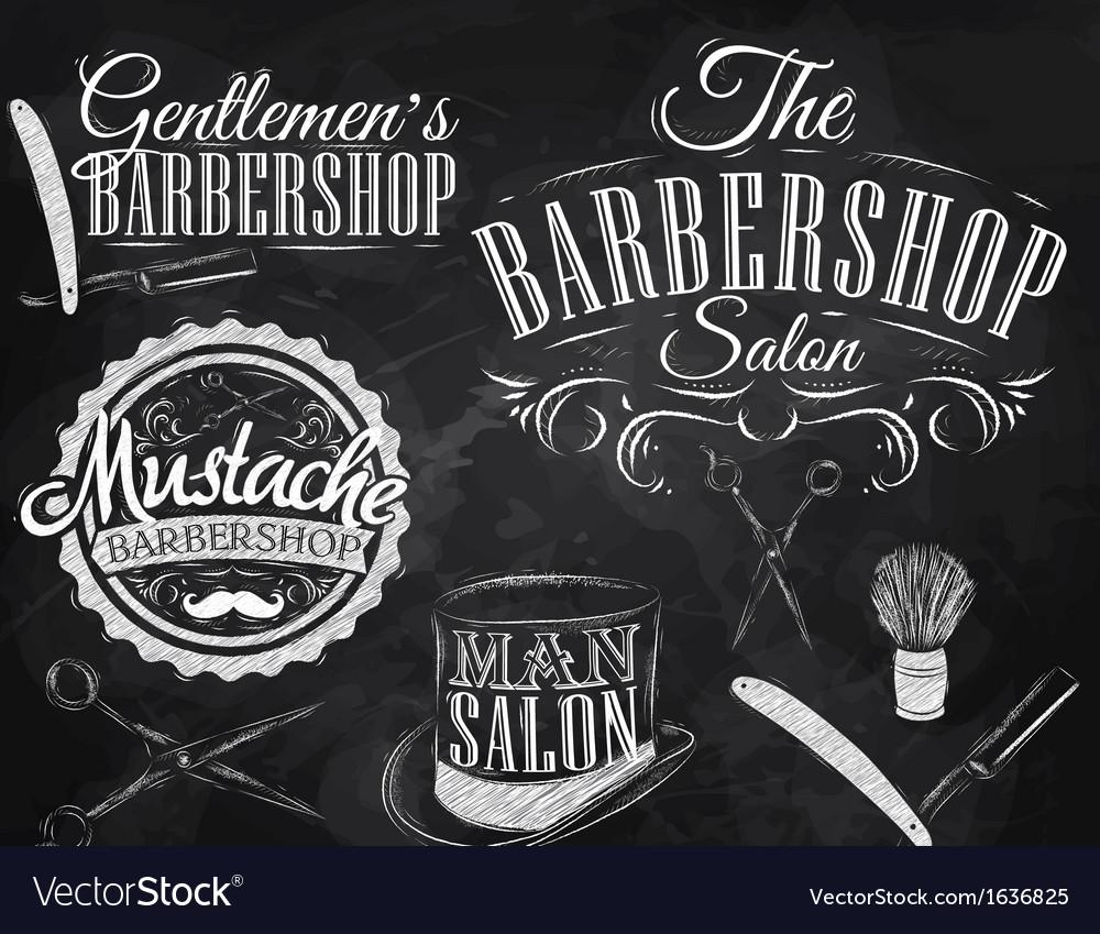 Barbershop set chalk vector