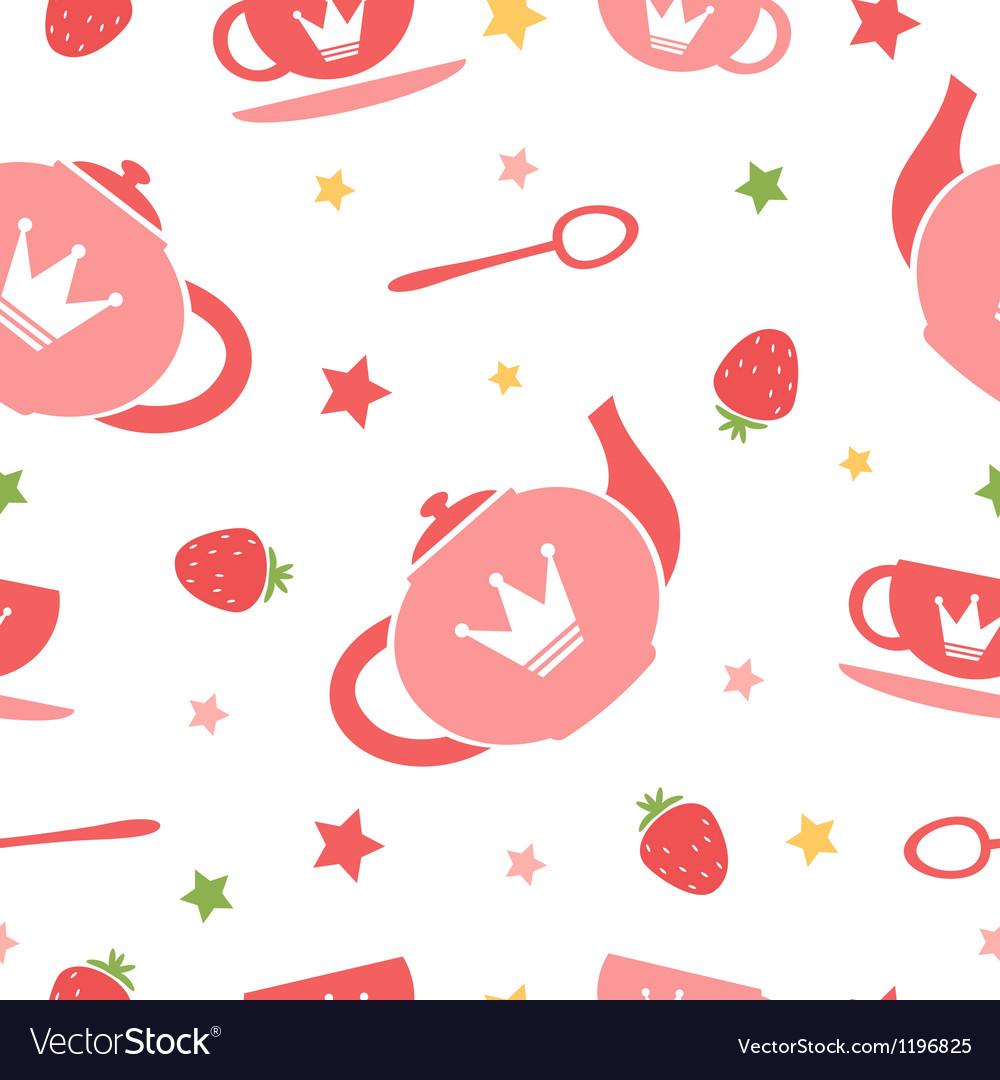 Tea party background vector