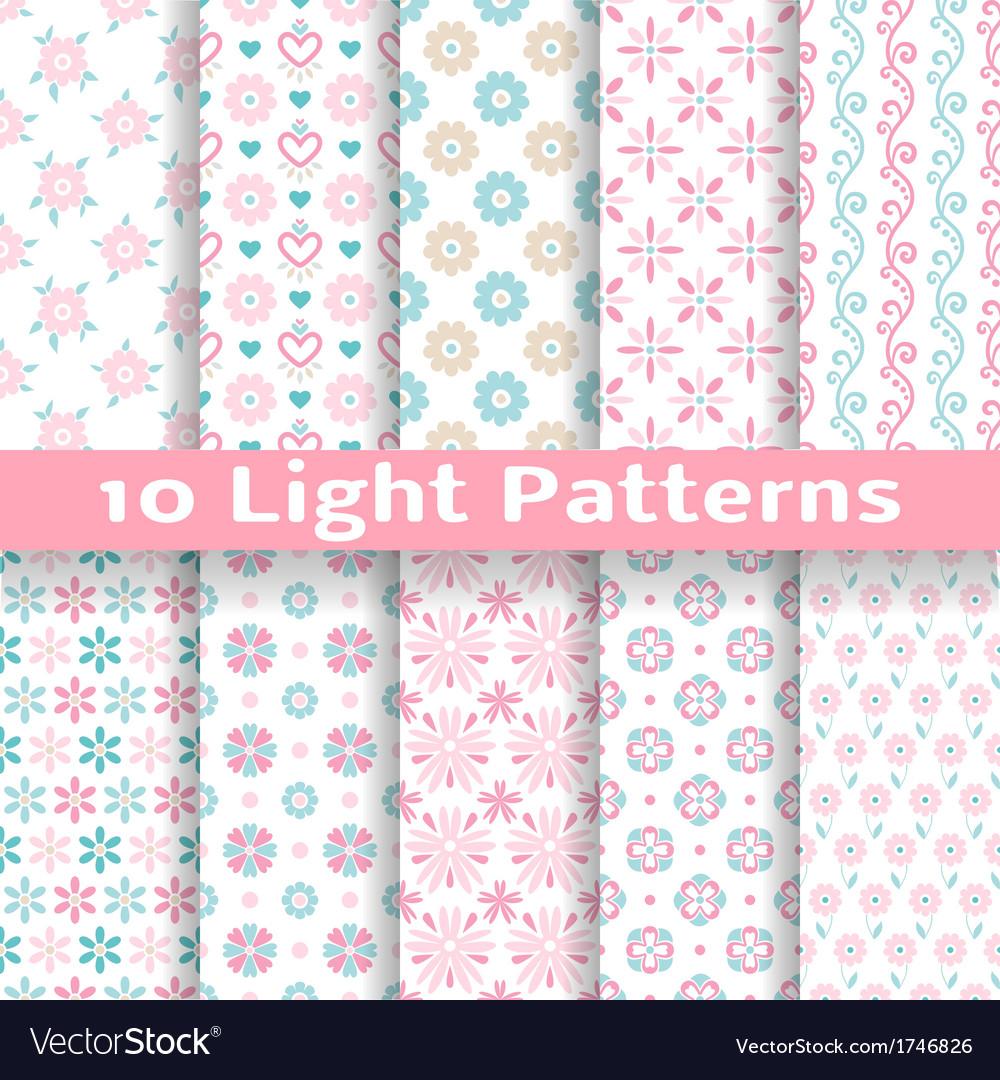 Light floral romantic seamless patterns tiling vector