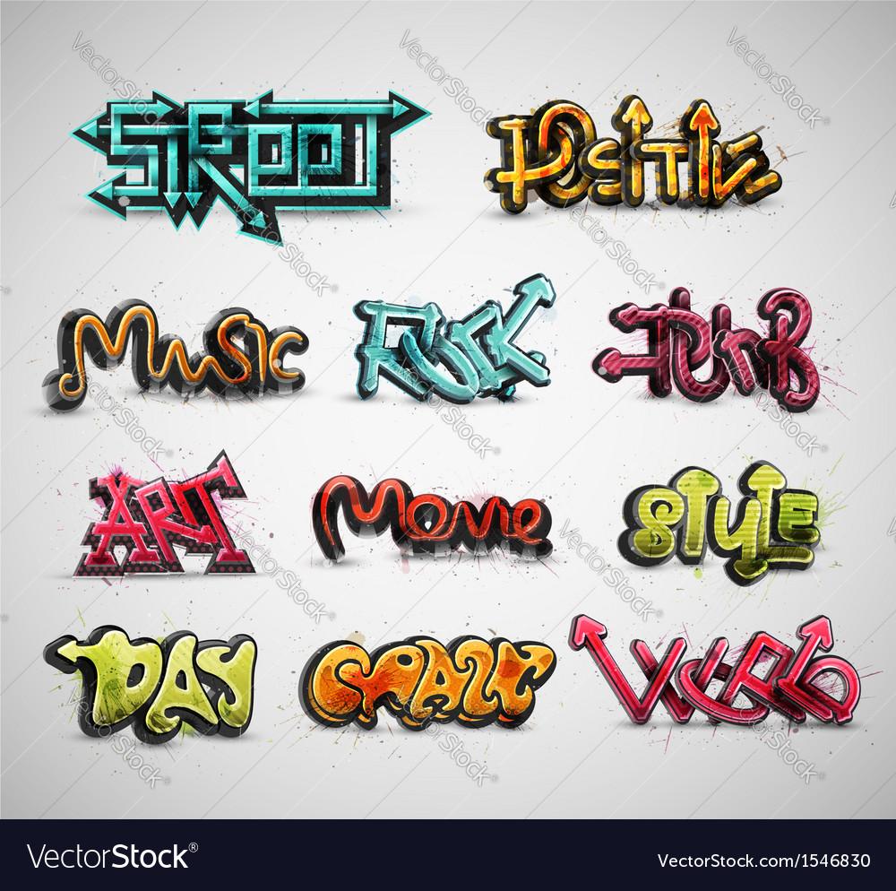 Set of graffiti vector