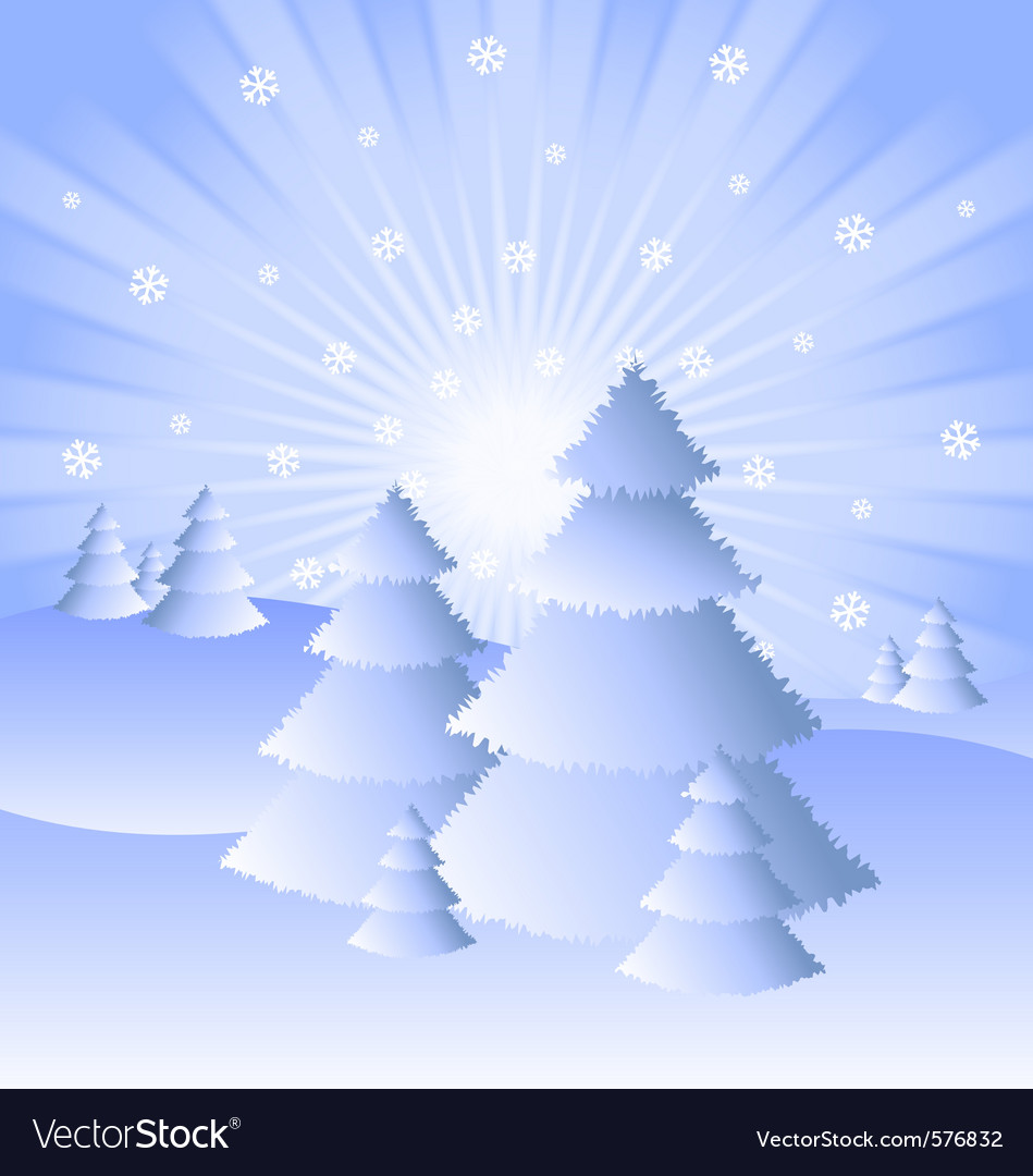 Snowy winter scenery vector