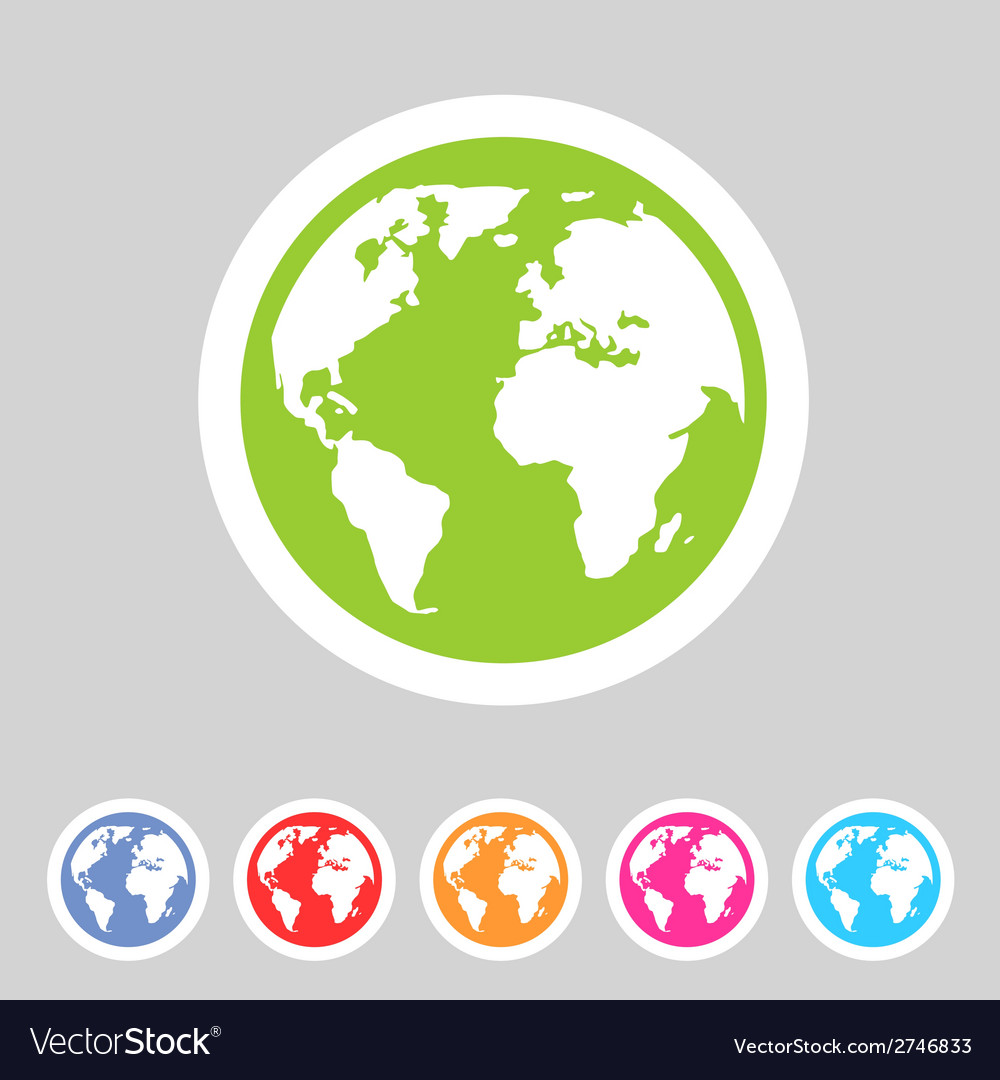 Earth globe flat icon vector