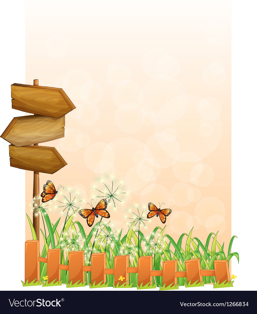 A garden scenery with a wooden arrow board vector