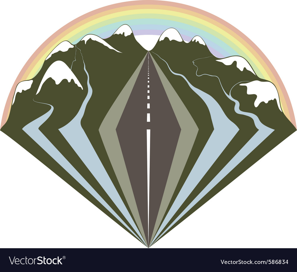 Mountains road and a rainbow vector