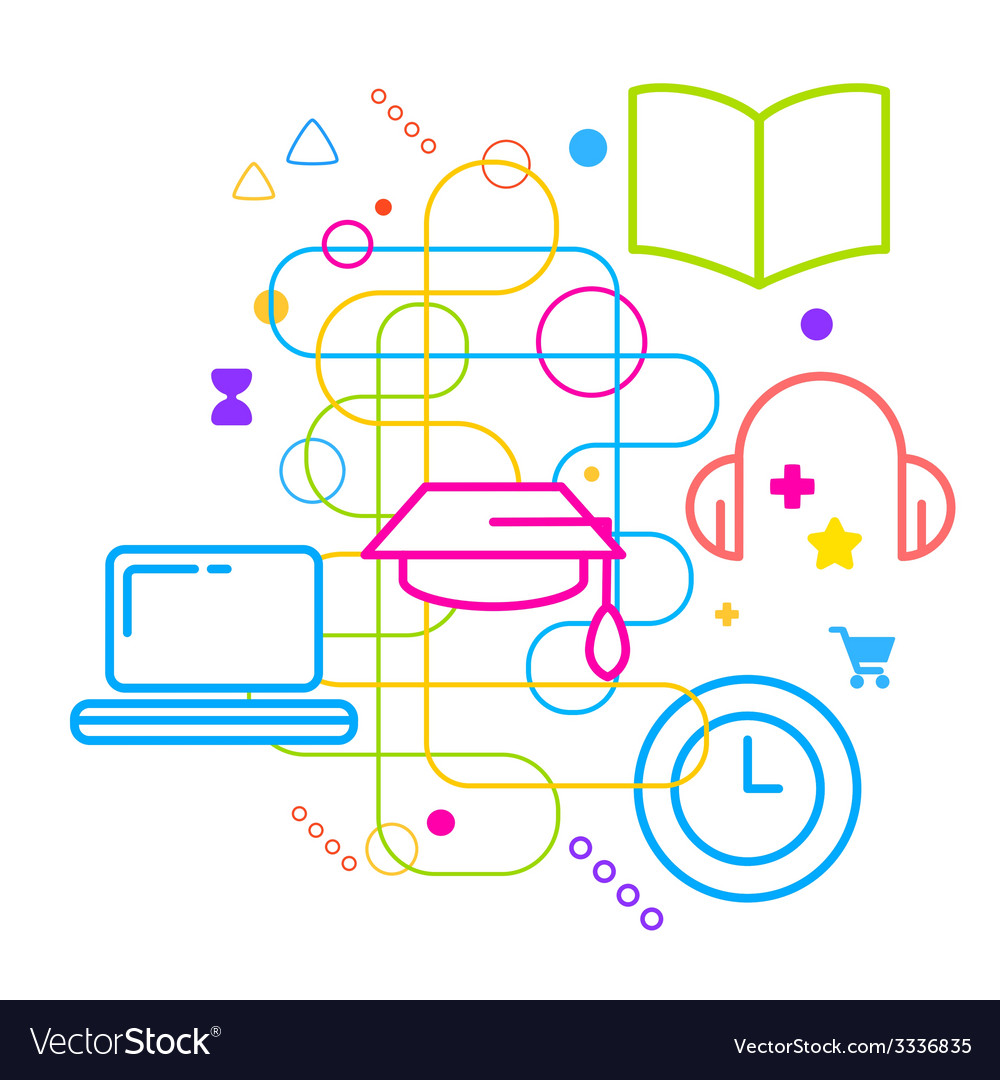 Symbols of higher education on abstract colorful vector