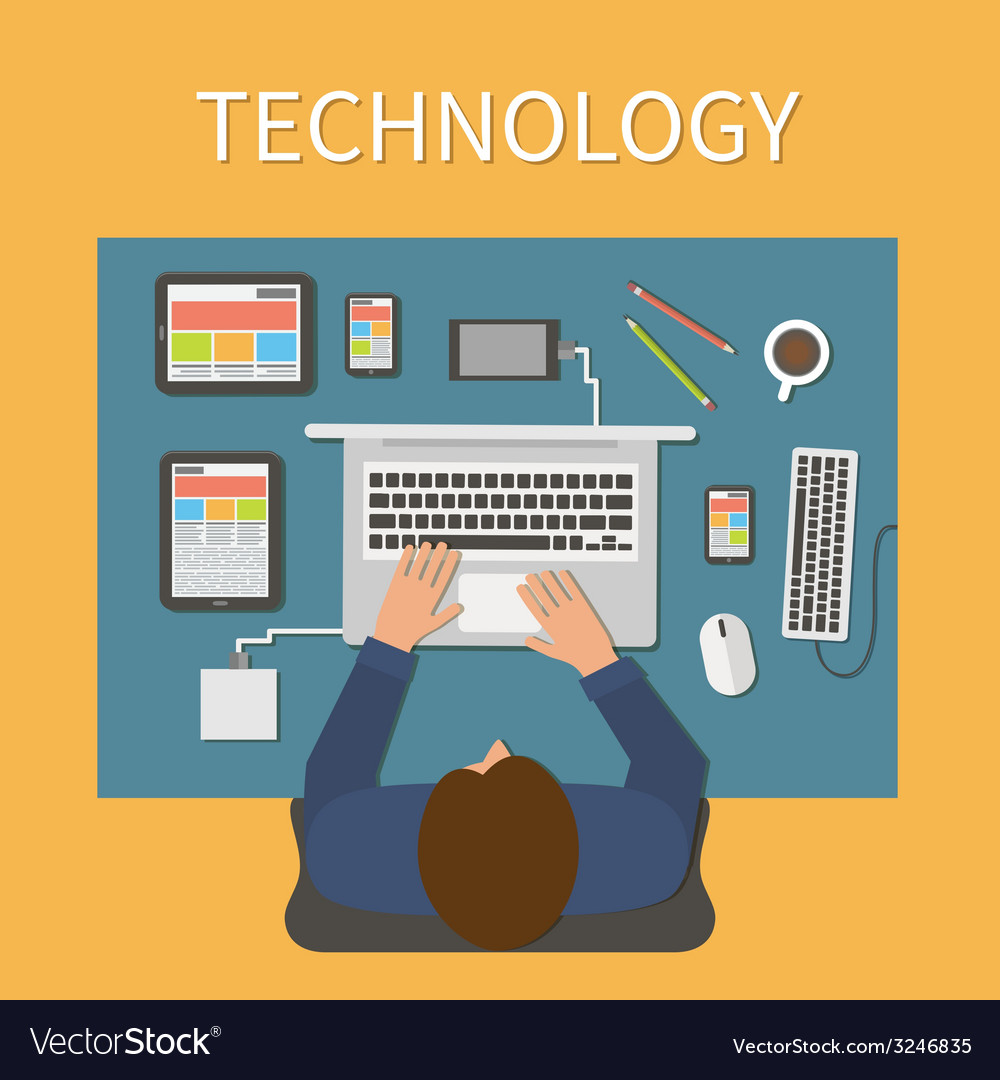 Workplace office desk it technology and web design vector