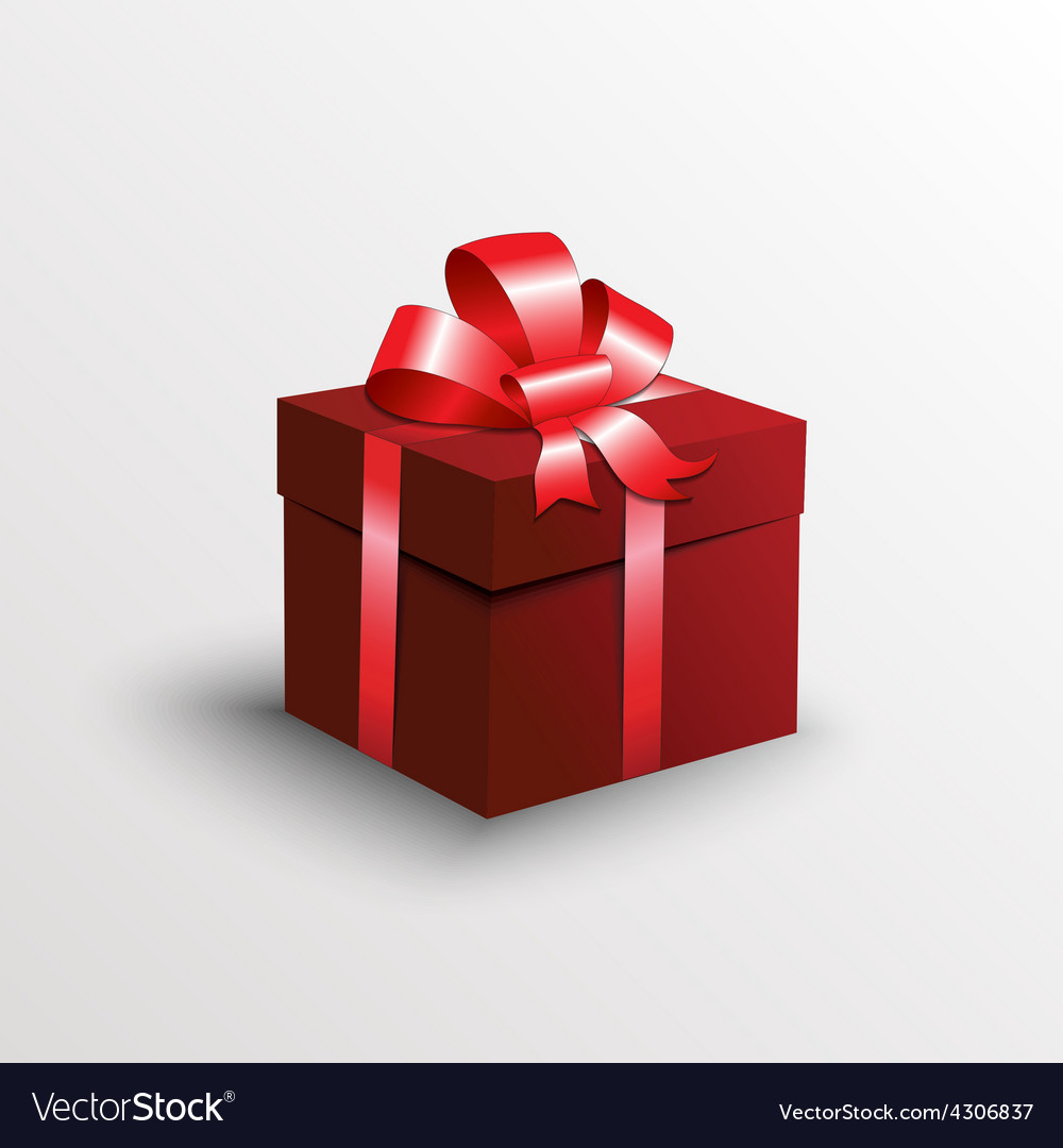 Abstract gift box with red ribbon vector