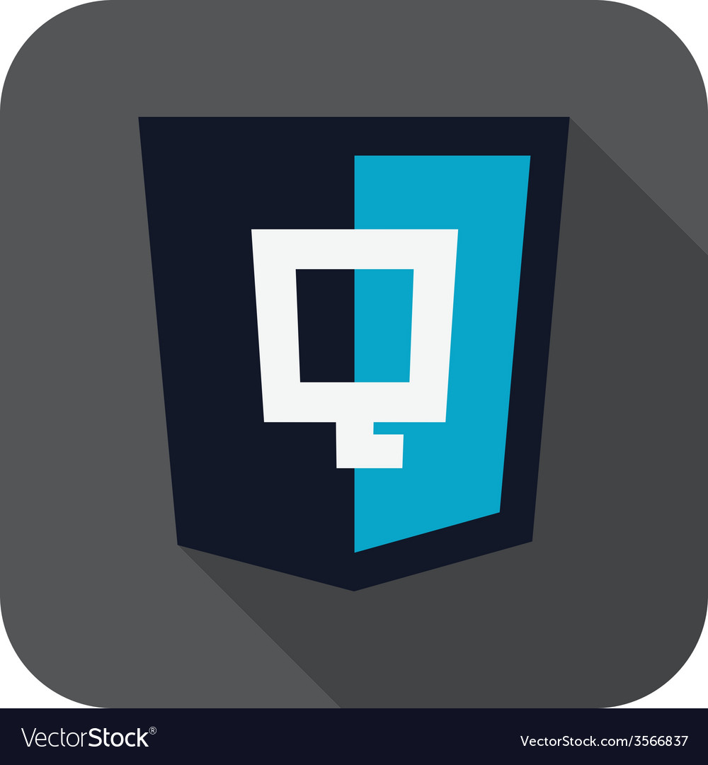 Dark blue shield with javascript q letter on the vector
