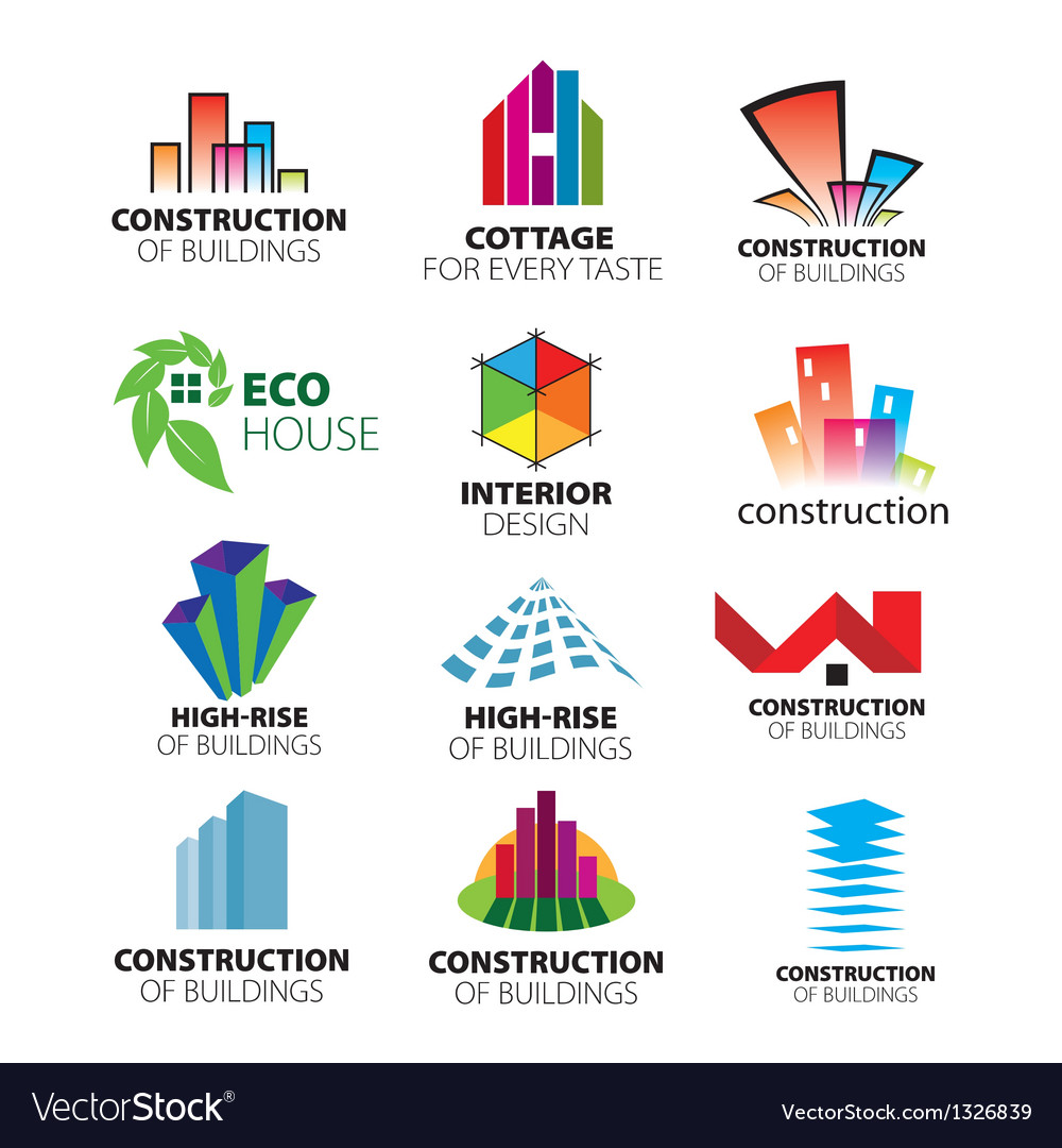 Collection of logos construction and home i vector