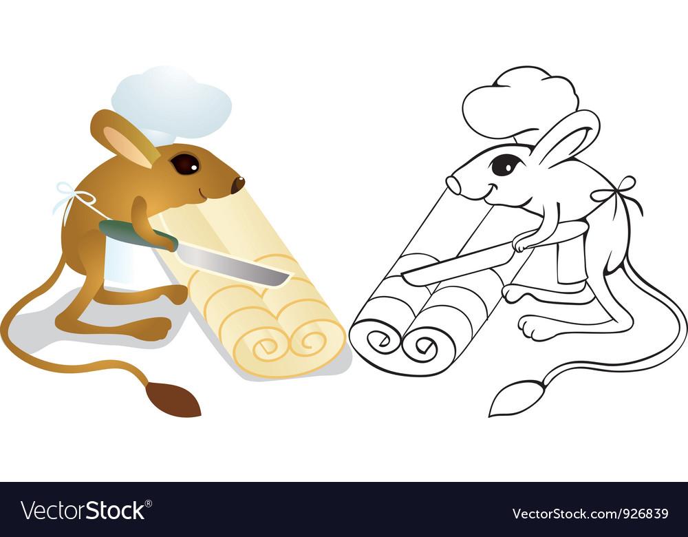 Jerboa chef cuts dough vector